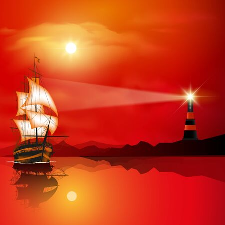 sea view: Lighthouse searchlight beam near ocean at sunset. Vector illustration Illustration