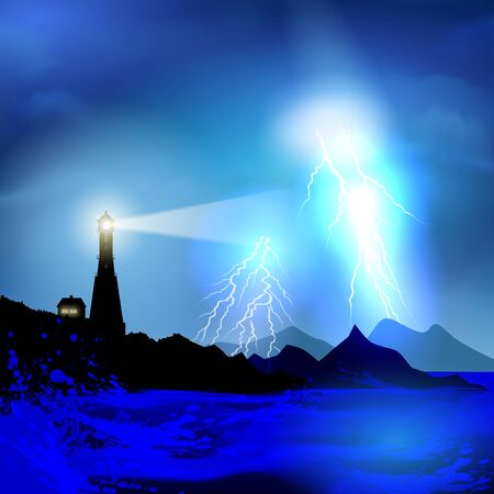 storm: Stormy sky over flooded lighthouse. Vector illustration Illustration