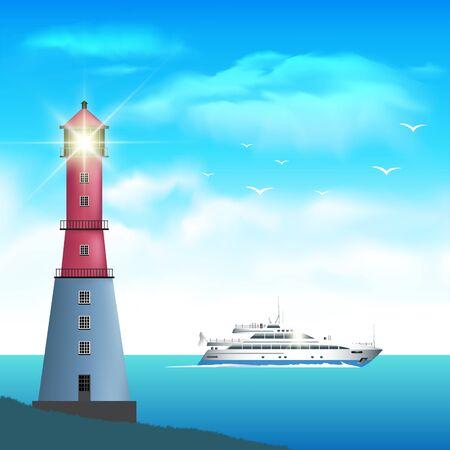 light house: Lighthouse searchlight beam near ocean. Vector illustration Illustration