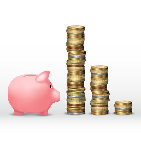 banco dinero: alcancía y la torre de dinero aislados en blanco. ilustración vectorial
