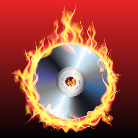 recordable: Burning CD or DVD isolated on background. Vector illustration Illustration