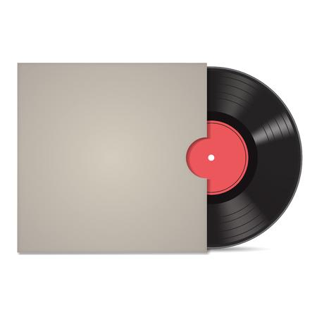 Vintage vinyl record in sleeve over white. Vector illustration Иллюстрация