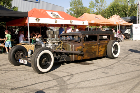 street rod: WARSAW, POLAND - AUGUST 29, 2015: Custom Hot Rod on display at American Day in Warsaw, Poland