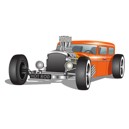 hot rod: Custom car isolated on white. Vector illustration