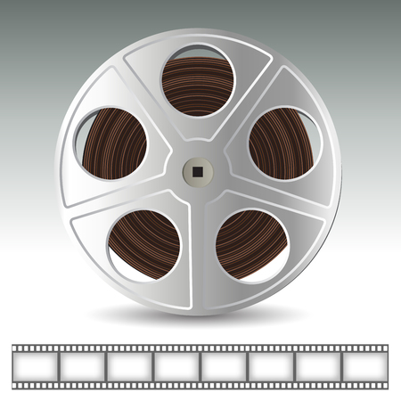 film: Realistic film reel isolated on background. Vector illustration