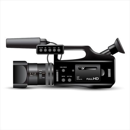 Digitale videocamera op wit wordt geïsoleerd. vector illustratie