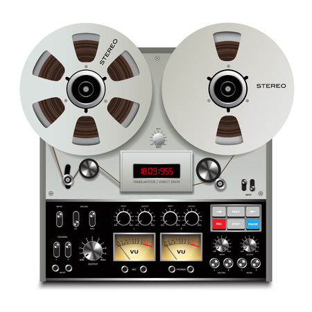 tapes: Analog stereo open reel tape deck recorder. Vector illustration
