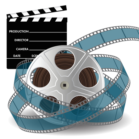film: Movie clapper and film reel with film strip. Vector illustration