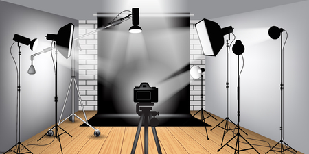Interior and the equipment of a photographic studio. Vector illustration