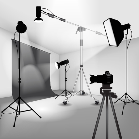 photo studio background: Photo studio setup with lights and camera. Vector illustration