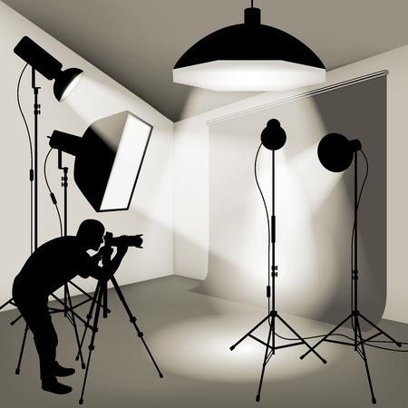 tiro al blanco: Hombre que usa la cámara profesional en el estudio fotográfico. Ilustración vectorial