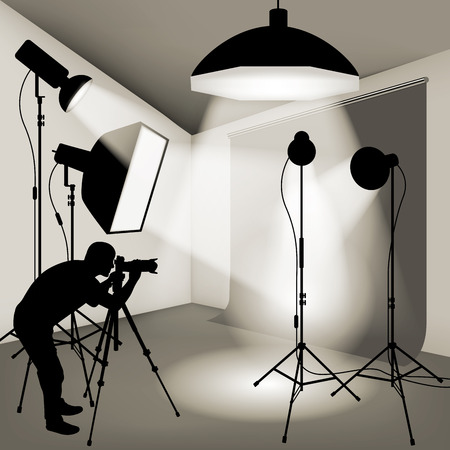 Man using professional camera in the photo studio. Vector illustration Иллюстрация
