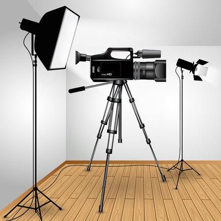 media equipment: Video camera on tripod with lights isolated over background. Vector illustration