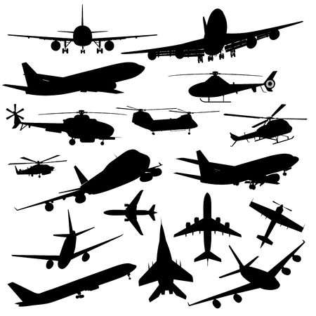world of work: Set of different kind of airplanes isolated on white. Vector illustration