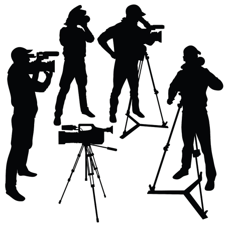 digital media: Cameraman with video camera. Silhouettes on white background. Vector illustration