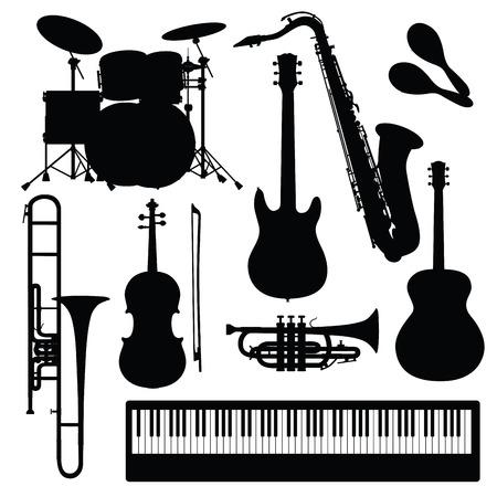 instrumentos musicales: Conjunto de instrumentos musicales aislados en blanco. ilustración vectorial