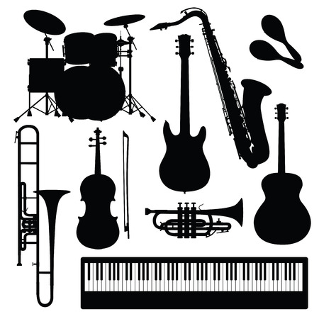 musical: Set of musical instruments isolated on white. Vector illustration