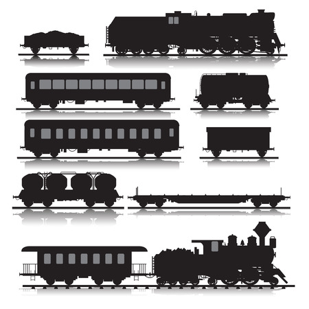 old train: Vector illustration of railway trains consisting of locomotives, platforms for transportation of containers, covered wagons, cisterns, and rail cars