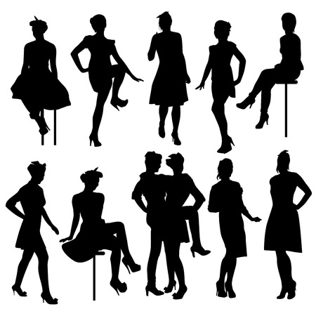 junge nackte m�dchen: Set of female silhouettes isolated on white. Vector illustration