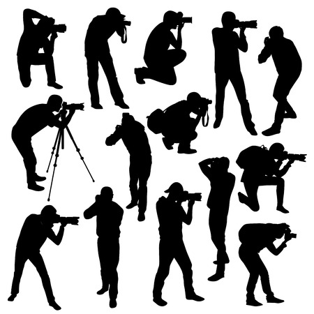 the photographer: Photographers silhouettes collection isolated on white. Vector illustration