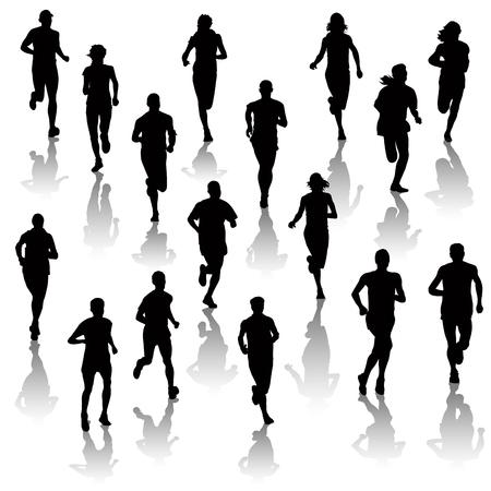 hacer footing: Colección de gente corriendo aislados en blanco. Ilustración vectorial