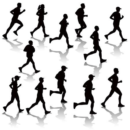 silueta hombre: Colecci�n de gente corriendo aislados en blanco. Ilustraci�n vectorial