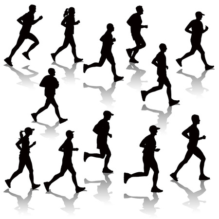 Collection of running people isolated on white. Vector illustration