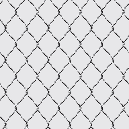 iron fence: Metal chain link fence seamless isolated on background. Vector illustration
