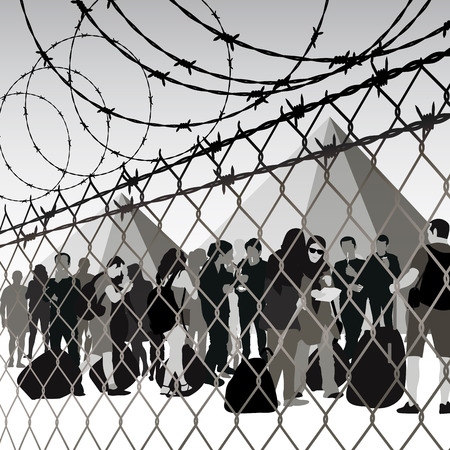 Refugees behind chain link fence and barbed wire. Vector illustration