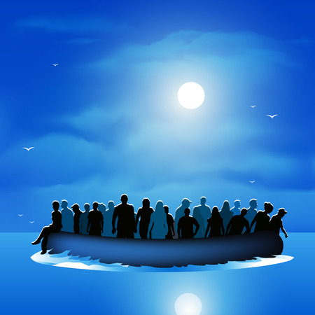 Dangerous journey refugees risking lives to find new life. Vector illustration Ilustrace