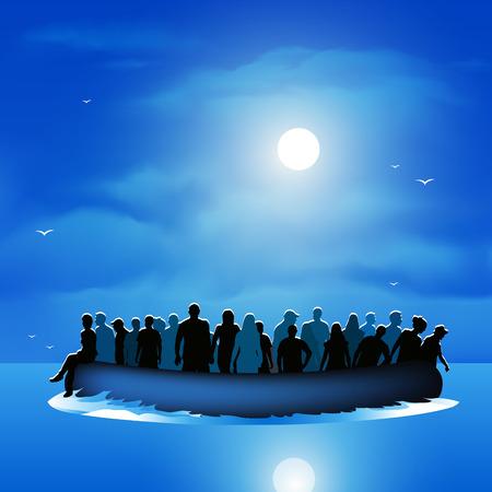 Gevaarlijke reis vluchtelingen leven riskeren om nieuw leven te vinden. Vector illustratie