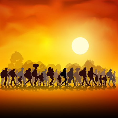 Silhouettes of refugees people searching new homes or life due to persecution. Vector illustration Vettoriali