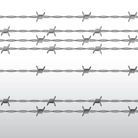 Metal barbed wire seamless isolated on background. Vector illustration