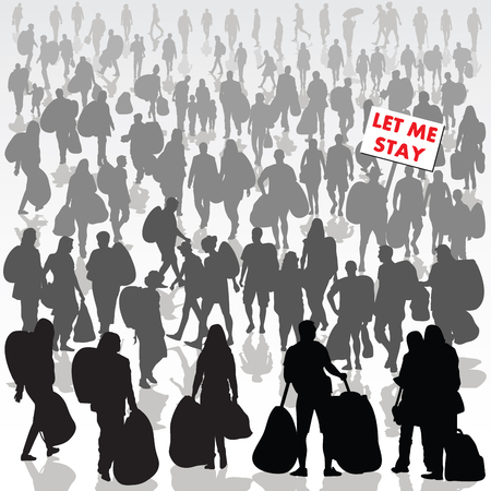 Crowd of refugee people isolated on background. Vector illustration