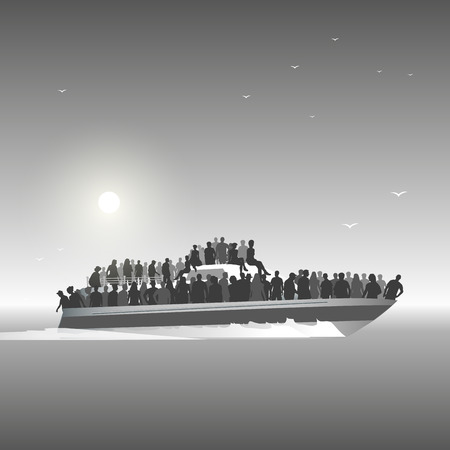 Immigrants are aboard on the sea risking lives to find new homes. Vector illustration Illustration