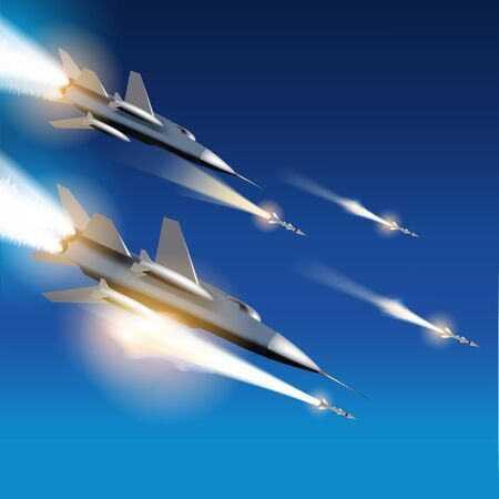 wartime: Military jets shooting at ground targets. Fighter jets fired a missiles. Vector illustration Illustration