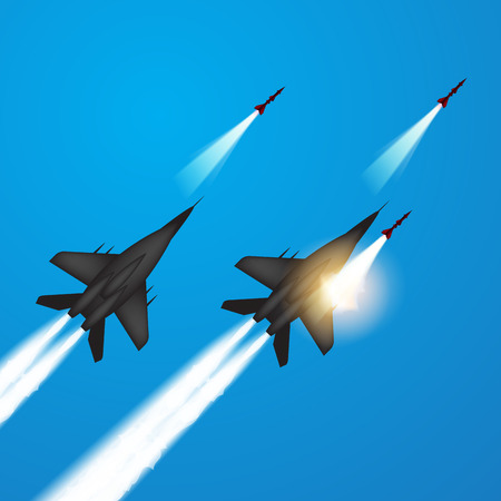 jets: Military jets shooting at ground targets. Fighter jets fired a missiles. Vector illustration Illustration