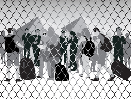syrian war: Refugees behind metal bars and barbed wire. Vector illustration