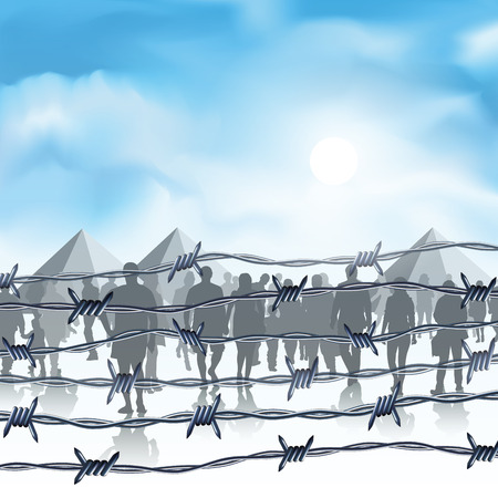 Silhouettes of refugees behind barbed wire. Vector illustration