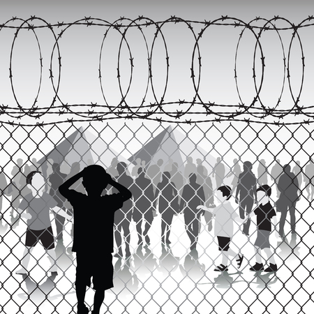 Children behind chain link fence and barbed wire in refugee camp. Vector illustration Çizim
