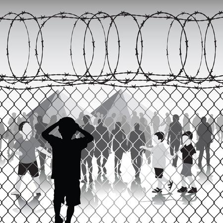 POBRES NI�OS: Ni�os detr�s de valla de tela met�lica y alambre de p�as en el campo de refugiados. Ilustraci�n vectorial