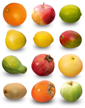 Set of different fruits isolated on white. Clipping path