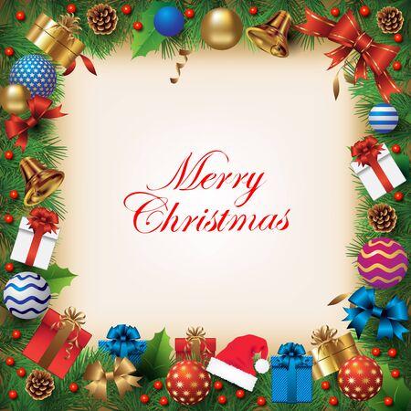 motivos navideños: Adornos de Navidad sobre fondo con la rama de abeto. ilustración vectorial