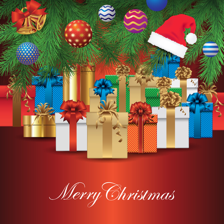 christmas tree illustration: Gifts under the Christmas tree. Vector illustration