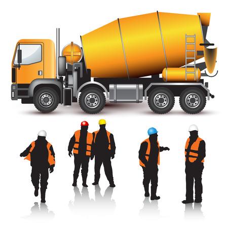 cemento: Camión mezclador de concreto y los trabajadores aislados en blanco. Ilustración vectorial