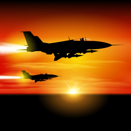 jets: Military fighter jets isolated on background. Vector illustration