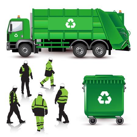 ciężarówka: Śmieciarka, wysypisku śmieci, a pracownicy na białym. Ilustracji wektorowych