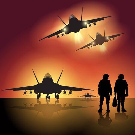 jets: Fighter jet before take off. Vector illustration Illustration
