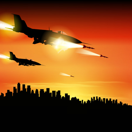 Military jets shooting at ground targets. Fighter jets fired a missiles. Vector illustration