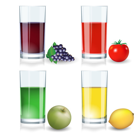 black berry: Set of various drinks on a white background. Vector illustration